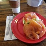 Bagel with cream cheese, avocado, tomato, bacon, and smoked salmon from Fuel