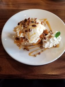 Peach-white chocolate bread pudding at Bru